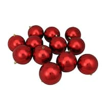 """12ct Red Hot Shatterproof Shiny Christmas Ball Ornaments 4"""" (100mm)"""