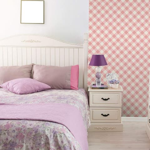 Pink Plaid Peel and Stick Removable Wallpaper 2741