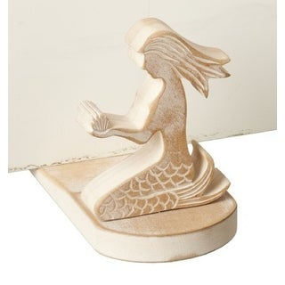 Mermaid Shaped Wood Doorstop Whitewashed