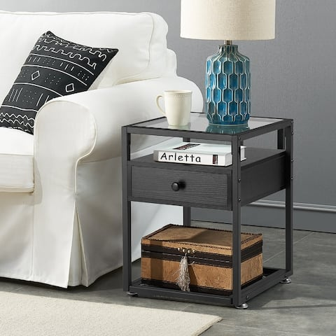 VECELO Bedside/Nightstands Tempered Glass Table with 1-drawer