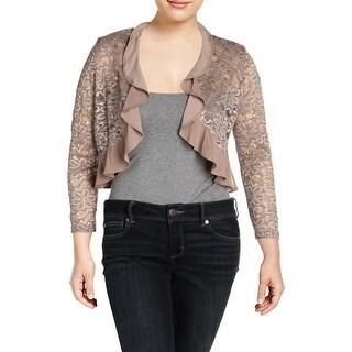 R&M Richards Womens Petites Jacket Lace Ruffled