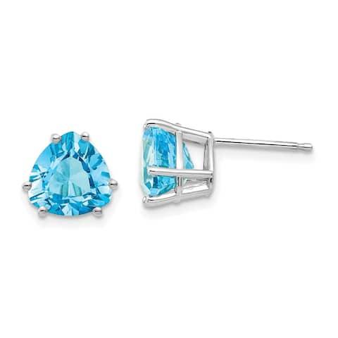 14K White Gold 8mm Trillion Blue Topaz Earrings by Versil
