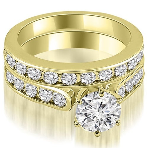 3.44 cttw. 14K Yellow Gold Cathedral Round Cut Diamond Bridal Set
