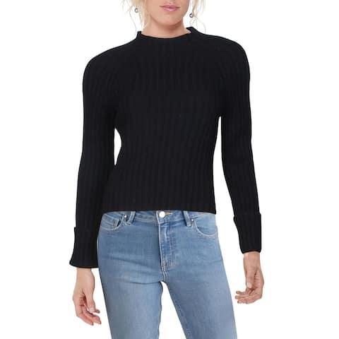 Vince Womens Pullover Sweater Wool Blend Mock Neck - Black