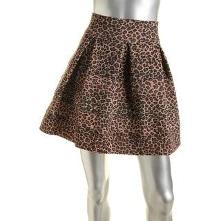 Aqua Womens Animal Print Pleated Bandage Skirt