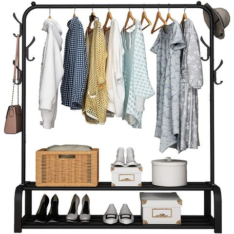 Free-standing Clothes Rack with Top Rod, Black - 43.7 x 11.18 x 2.09 inches