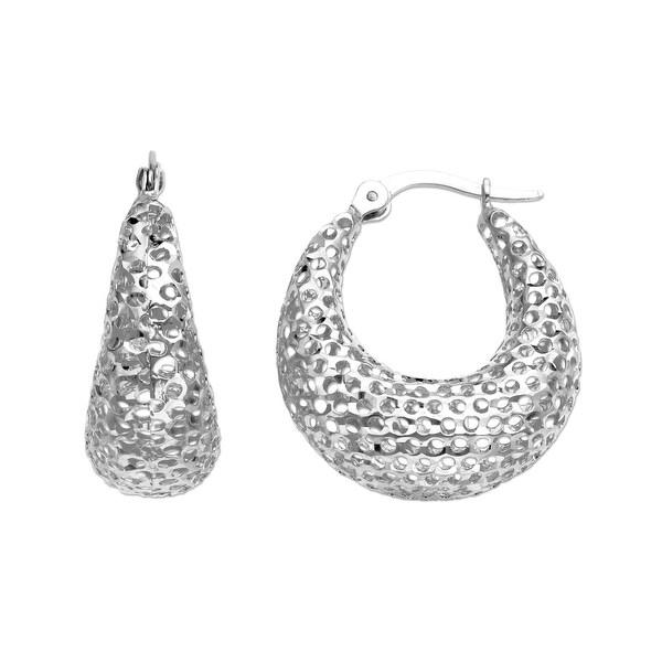 Just Gold Mesh Hoop Earrings in 14K White Gold