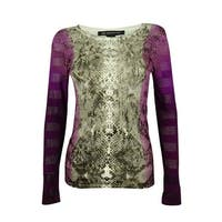 INC International Concepts Women's Illusion Striped Top - slivered snake