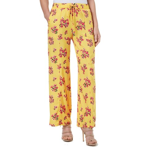 XOXO Yellow Pink Women's Size 4 Stretch Floral Printed Pants