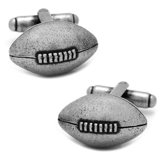 Antique Finished Football Cufflinks - Silver
