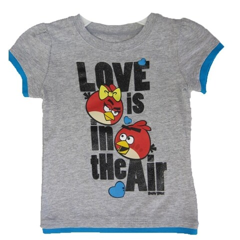 Disney Little Girls Grey Royal Blue Angry Birds Character Print T-Shirt 4-6X