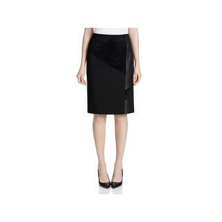Calvin Klein Womens Pencil Skirt Mixed Media Faux Suede