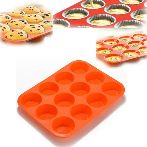 Non-Stick 12 Cup Premium Cupcakes Baking Pan Silicone Muffin Pan BPA Free Dishwasher Microwave Safe Red