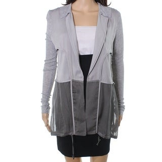 John Mark NEW Silver Women's Size Small S Cardigan Sheer Knit Sweater
