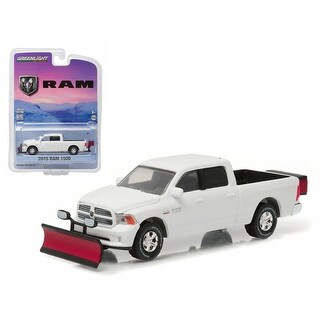 2015 Dodge Ram 1500 Pickup Truck with Snow Plow and Salt Spreader 1/64 Diecast Model Car by Greenlight