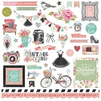 "Vintage Girl Stickers 12""X12""-Elements"