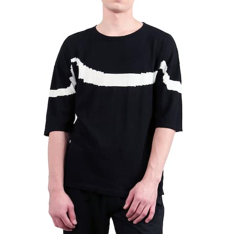 Men Crew Neck Half Sleeves Wave Pattern Knitted T-Shirt - Black