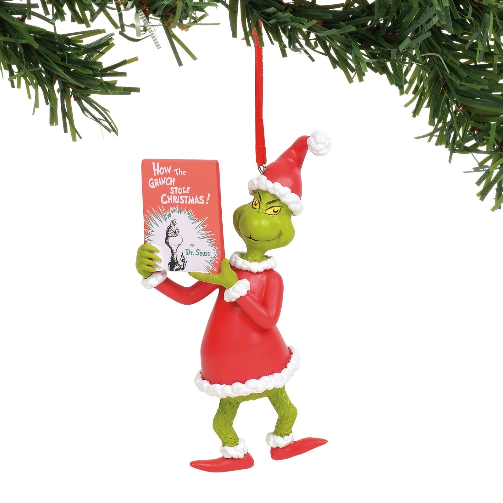 How The Grinch Stole Christmas Book.Grinch Reading How The Grinch Stole Christmas Book Holiday Ornament
