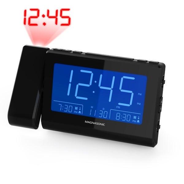 Magnasonic Alarm Clock Radio with Time Projection, Auto Dimming, Battery Backup, Dual Gradual Wake Alarm, Auto Time Set