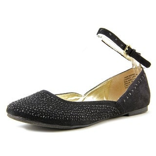 Material Girl Krown Women Round Toe Synthetic Black Flats