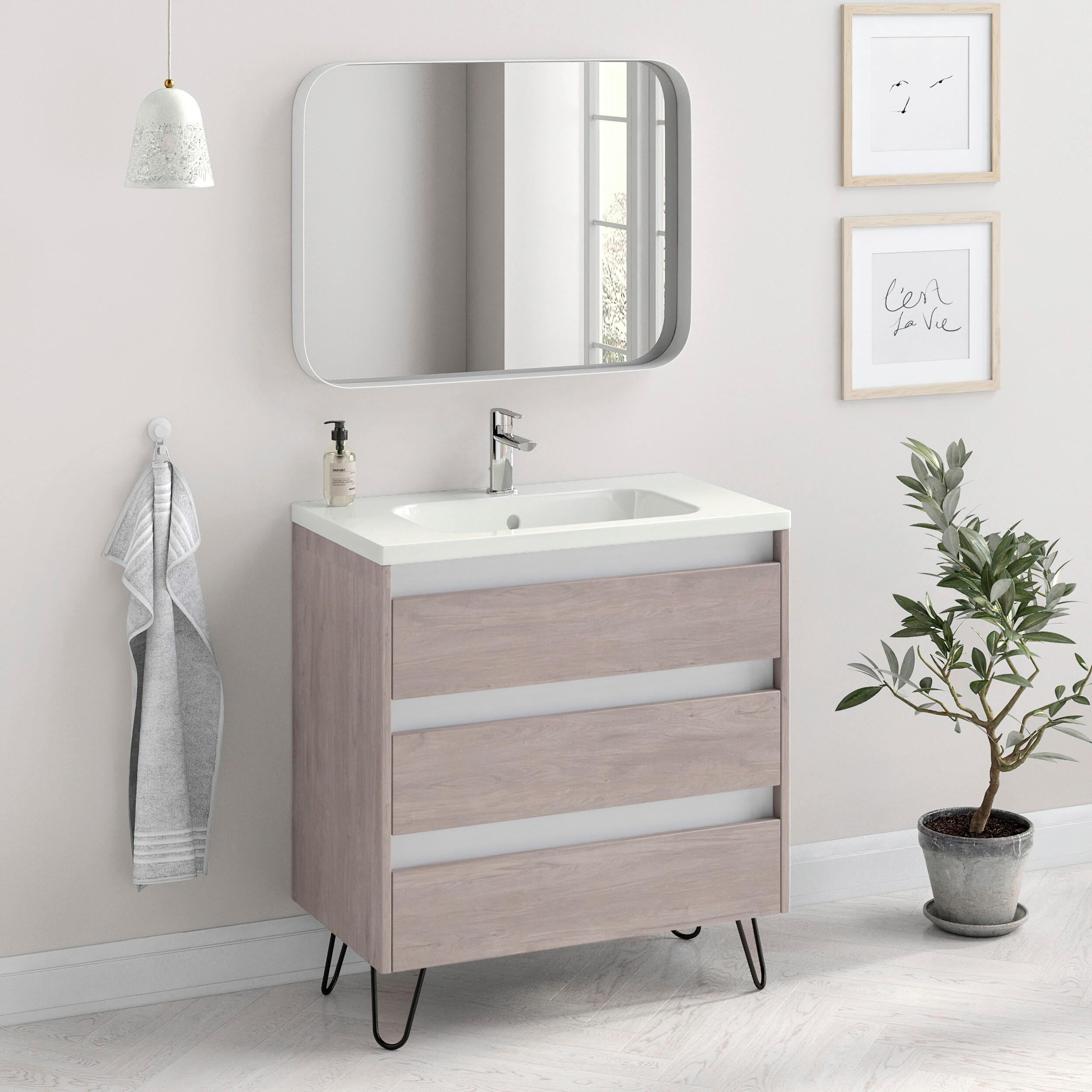 32 Bathroom Vanity Freestanding Cabinet Sink Legs Docce Fs W32 X H35 X D18 In Rhd Weathered Oak Overstock 32167313