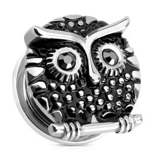 Owl with Gemmed Black Eyes 316L Surgical Steel Screw Fit Plug (Sold Individually) (5 options available)
