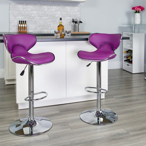 "Porch & Den Moorpark Round Back Adjustable Swivel Bar Stool - 16""W x 17.5""D x 34.5"" - 43""H"