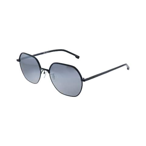 Hugo Boss BOSS 1107/F/S 807 Unisex Black Frame Silver Mirror Lens Sunglasses
