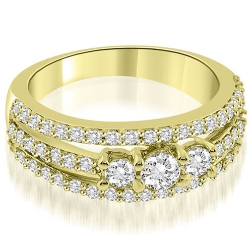 0.84 cttw. 14K Yellow Gold Three-Stone Split Shank Diamond Wedding Ring