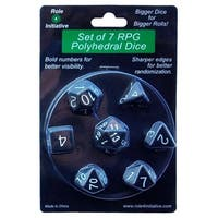 Role 4 Initiative  Opaque Black with White Number Dice - Set of 7