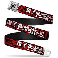 My Chemical Romance Sunburst Logo Full Color Black White Red My Chemical Seatbelt Belt