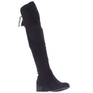 madden girl Prissley Over The Knee Tassel Stretch Boots - Black