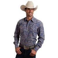Stetson Western Shirt Mens L/S Paisley Snap Blue