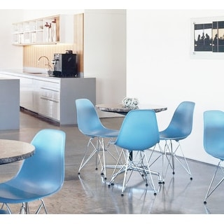 2xhome Blue - Eames Style Molded Bedroom & Dining Room Side Ray Chair with Eiffel Metal Leg Base