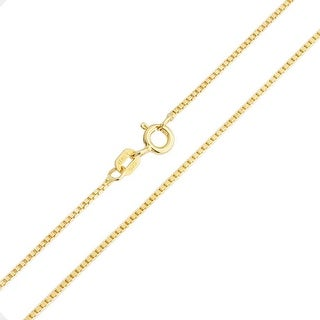 Bling Jewelry Gold Plated Silver Unisex Box Link Chain Necklace 19 Gauge