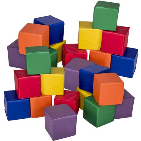 Gymax 24-Piece 8'' PU Foam Big Building Blocks Colorful Soft Blocks