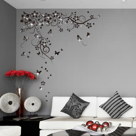 Walplus Wall Sticker Black Butterfly Vine Swarovski Crystal Home Décor
