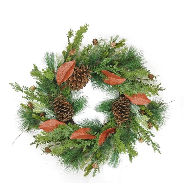 "26"" Decorative Mixed Pine with Red Leaves and Pine Cones Artificial Christmas Wreath - Unlit - green"