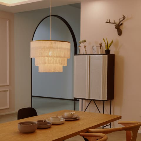 Novogratz x Globe Janis 1-Light Matte Gold Pendant Light with White Fabric Fringe Shade