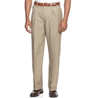Geoffrey Beene Big and Tall Extender Pleated Dress Pants Khaki 44 x 32