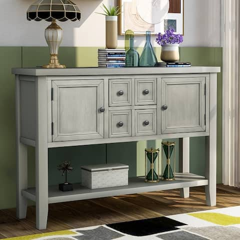 Nestfair Charlotte Sideboard Console Table with Drawers and Bottom Shelf