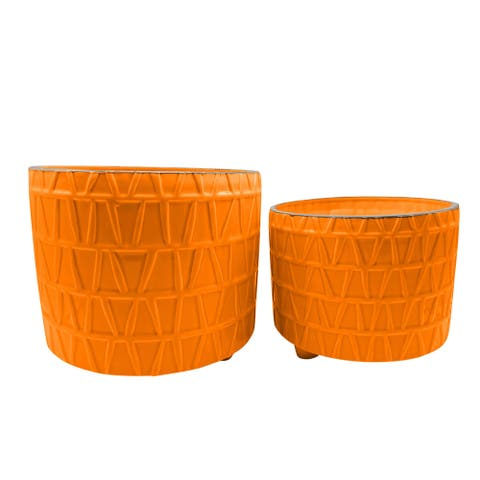 """S/2 10/12"""" Footed Etched Planter, Orange"""