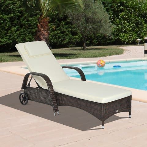 Outsunny Outdoor Rattan Wicker Chaise Lounge Chair with Height Adjustable Backrest & Durable Material