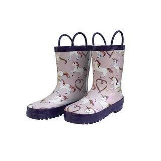 Foxfire Little Girls Pink Rainbow Unicorn Side Handle Rain Boots