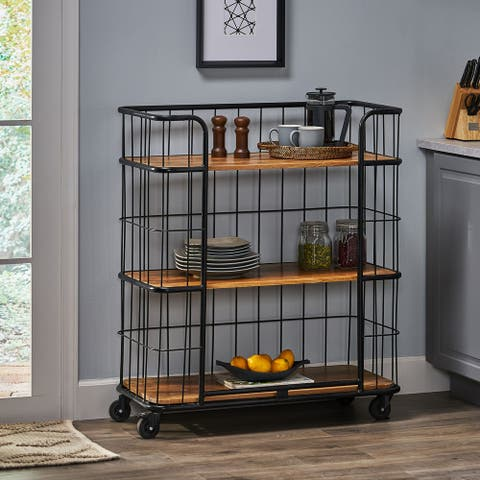 Colwill Indoor Mango Wood Handcrafted Kitchen Cart with Wheels by Christopher Knight Home