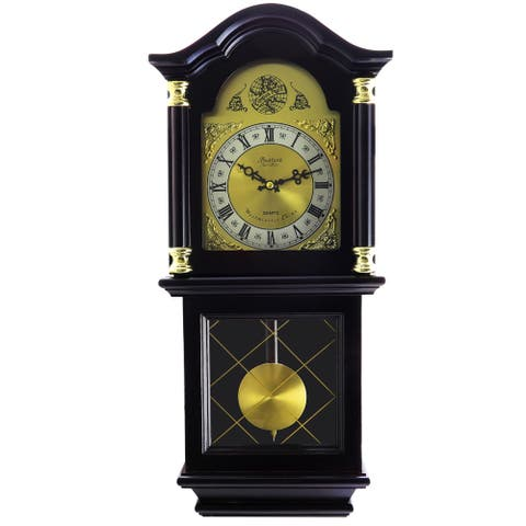 "Bedford Clock Collection 26"" Deco Chiming Wall Clock w/ Roman Numerals"