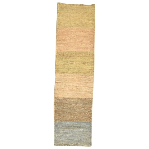 """One of a Kind Hand-Knotted Modern & Contemporary 6' Runner Stripe Jute Multi Rug - 1'6""""x5'10"""""""
