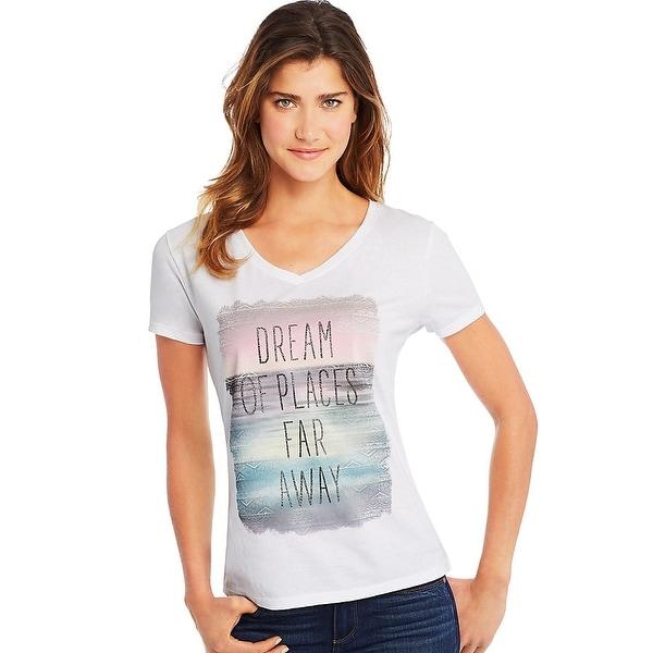 30c93b391cc Shop Hanes Women s Dream of Places Far Away Short Sleeve V-Neck Tee ...
