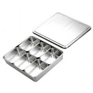 6 Lattice Nonmagnetic Japanese Type Square Seasoning Box Stainless Steel