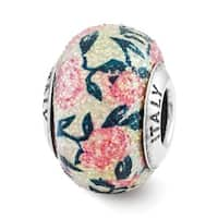 Italian Sterling Silver Reflections Pink Floral Overlay Bead (4mm Diameter Hole)